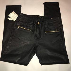 Zara faux leather Moto Jeans